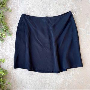Reformation Benson Silk Satin Mini Skirt in Black